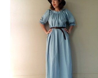 Sweet Simply  Blue Cotton Long Tunic Maxi Dress One size fit all (D3)