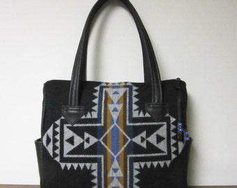 Large Handbag Purse Shoulder Bag Black Leather Crossroads Black Wool from Pendleton Oregon