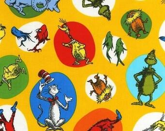 By the Yard Dr. Seuss CELEBRATE SEUSS Yellow ADE-11965-5 Fabric Robert Kaufman Dr Seuss