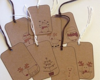 RUSTIC Kraft Christmas Gift TAGS - Set 15 Medium Assorted Tags - Simple Cute - Snowmen - Reindeer - Christmas Tree - Penguin - Gingerbre