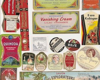80 1930s plus Medicine cabinet Labels Drugstore,Pharmacy ,Poison ,BEAUTY,COSMETICS,French Perfume,Witch Hazel etc