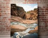 Moab Utah, Nature Photography, Southwest Wall Art, Water Reflection, Canyon Creek Photography, Large Landscape Print, Utah Desert Photo