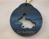 Personalized wooden christmas cut out Bunny Rabbit ornament or gift tag