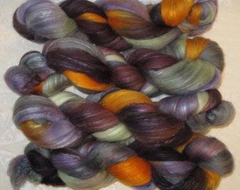 Handpainted Roving -- Organic Polwarth/Silk