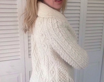 Vintage cream cardigan sweater unisex cable knit fisherman hipster winter pullover retro oatmeal