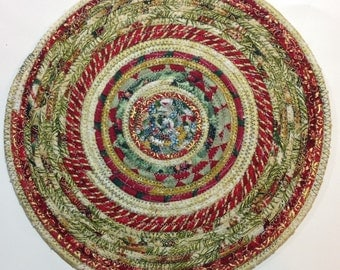 10 1/4 inches Round Coiled Fabric Trivet, Candle Mat, Hot Pad