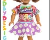 18 inch American Girl Bitty Baby Doll  Purple SHOPKINS dress