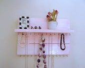 Jewelry Organizer Pink Necklace Hanger Wood Wall Hanging Cottage Chic Shabby Chic