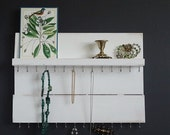 Distressed Wood Wall Jewelry Organizer Necklace Hanger with Shelf White Blush Cottage Chic