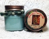 Jar Candles, Christmas Tree, mason jar, 1/2 pint, Christmas scent, teacher gift, container candle, Moeggenborg Sugar Bush