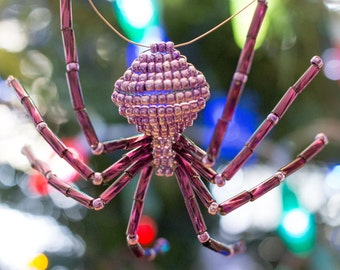 Glittering Lilac Beaded Spider Ornament - includes the Legend of the Christmas Spider story