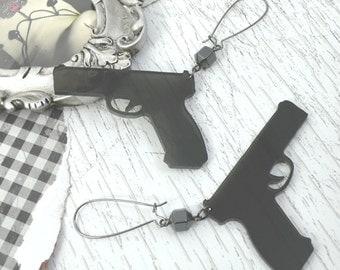 STICK EM UP - Translucent Xl Smoke Hand Gun Crystal Laser Cut Acrylic Earrings