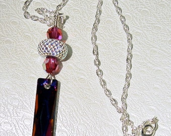 Queen Swarovski Baguette Volcano with Be Charmed Bead with Fuchsia AB Crystals SRAJD