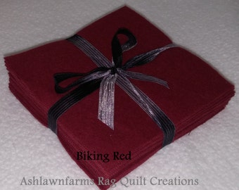 Solid BIKING RED Flannel Squares, FLANNEL Fabric, Rag Quilt Squares, pick colors quantity and size, We Cut You Sew