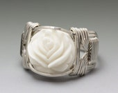 Carved Bone Bali Round Lotus Flower Sterling Silver Wire Wrapped Ring ANY size