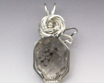 Herkimer Diamond Quartz Sterling Silver Wire Wrapped Pendant - Ready to Ship!