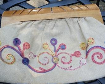 Vintage wooden handle clutch bag 1970 1960 boho hippy purse