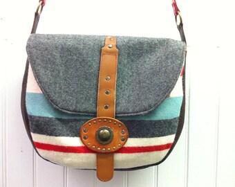 Striped Wool Shoulder Bag