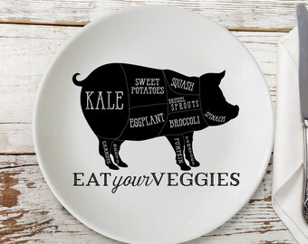 Eat Your Veggies Plate - Veggie Pig Plate - Vegan Plate - Vegetarian Plate Melamine Plate