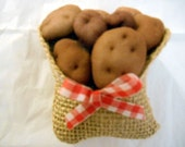 Potatoes In Burlap Bag Refrigerator Bag With Bow Faux Vegetable Miniatures Fake Food Doll House