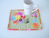 Quilted Mug Rug Snack Mat Candle Mat Plant Mat XL Coaster XL Hot Pad Basket Liner - Hexie Garden Flower Applique Quilted Mug Rug