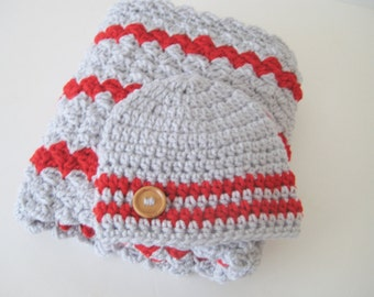 Crochet Baby Blanket Set, Nursing Blanket, Baby Blanket Set, Stroller-Car Seat Blanket & Hat - Grey Red Baby Blanket Set - Ready To Ship