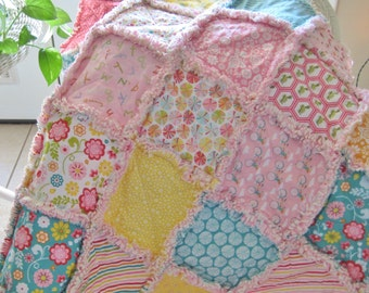 Baby Rag Quilt - Quilted Baby Blanket, Nursery Bedding, Crib Size - Letters, Flowers, Bicycles, Turtles, Dots, Stripes - Pink, Aqua, Yellow