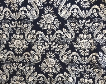 Vintage Rayon Fabric Navy Blue & White Baroque Floral 1.2 yards