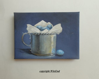 Eggs Cup painting original still life bird art Bluebird eggs in antique Silver cup