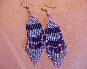 Seed beaded Native style earrings in blue