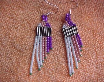 Seed Beaded Earrings 2 3/4 handmade