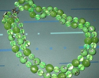 Vintage 50s Green Moonglow and Clear Lucite Double Strand Bead Necklace