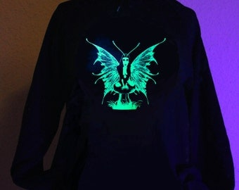 Glow in the dark Green Fairy Hoodie S M L XL 2XL