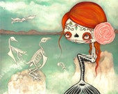 Day Of The Dead Original Painting Cute Dead Zombie mermaid Bird Skeleton Wall Art  16 x 20
