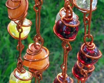 Carnelian Suncatcher with Copper Wrapped Ruby Red, Yellow Cat's Eye & Clear Glass Marbles, Garden Decor, Metaphysical, Tequila Sunrise