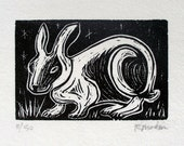 Night Rabbit, linoleum block print