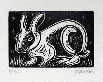 Night Rabbit, linoleum block print-Ruchika Madan
