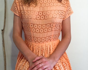 Vintage 1960's eyelet dress, mid length