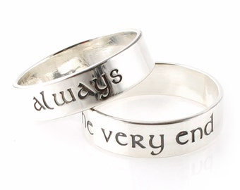 nerdy wedding bands always until the very end pair of sterling silver his and hers wedding bands geeky rings nerdy rings