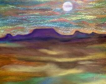 """Soft Pastel drawing, desert, art, 9""""x12"""", unframed, original"""