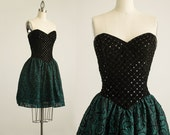 90s Vintage Jessica McClintock Gunne Sax Black Velvet Sequin Bustier Strapless Mini Dress / Size Small