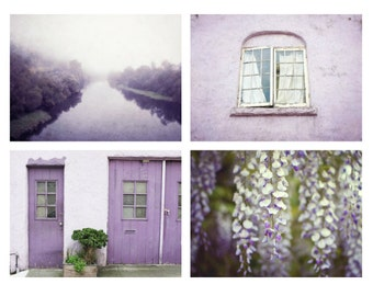 Purple photography set purple wall art four photographs plum home decor lavender art prints 5x7 8x10 11x14