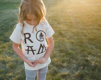 Camping Birthday Gift for Her, Outdoor Gift, Kids Hiking Shirt, Adventure Gift for Girls, Girls Clothes, ROAM Unisex Kids Shirt Girl or Boy
