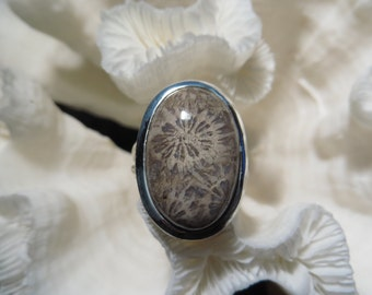 Beautiful Fossil Coral Ring Size 7.5