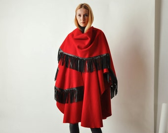 Vintage Osgood Smuk Red Cape w/ Leather Fringe