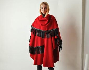 Vintage Red Cape w/ Leather Fringe