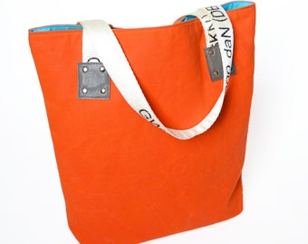 Waxed Canvas Tote Bag, Market Bag, Womens Totes, Canvas Travel Bag, Girlfriend Gift, Gift For Her, Large Tote Bag in Safety Orange