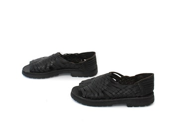 size 7.5 PLATFORM black leather 80s 90s CHUNKY GRUNGE woven leather sandals