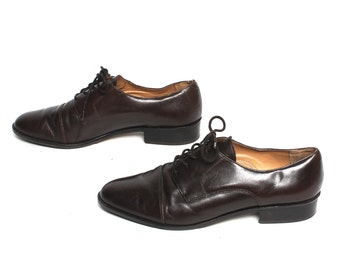 size 9.5 OXFORD brown leather 80s 90s BROGUE lace up shoes
