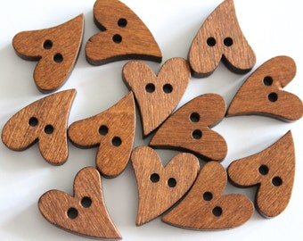 Cute wood curved heart buttons 20x17mm (10)